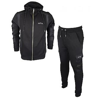 883 Police Hyam Anto Cotton Zip Up Hooded Slim Fit Black Tracksuit