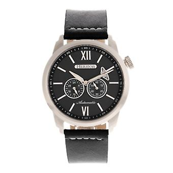 Heritor Automatic Wellington Leather-Band Watch - Silver/Black