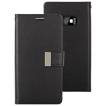For Samsung Galaxy S10e Case, Svart Vill Hest Tekstur Skinn Lommebok Flip Cover
