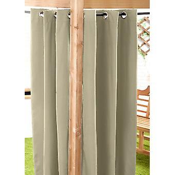 Stone 140 x 210cm Outdoor Curtain Eyelet Panel Garden Décor Drape Patio Shade