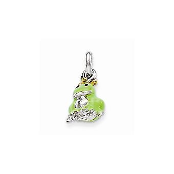 925 Sterling Silver Dangle Polished Green Frog for boys or girls 14k Gold Plated Enameled Pendant Necklace