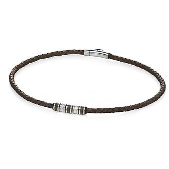 Fred Bennett Multi Stainless Steel Bead & Brown Leather Necklace