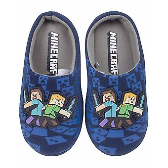 Minecraft Surrounded Boy's Blue Steve e Alex Slippers