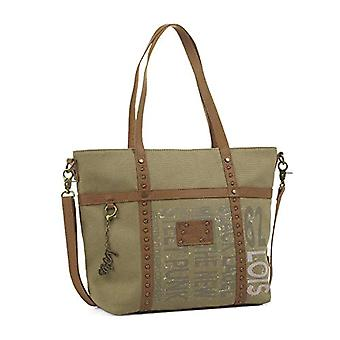 Lois - 91732 Tote bag with double handle and adjustable shoulder strap. Zip-up closure. Reinforced base. Keychain. Canvas - Synthetic skin Color Khachi