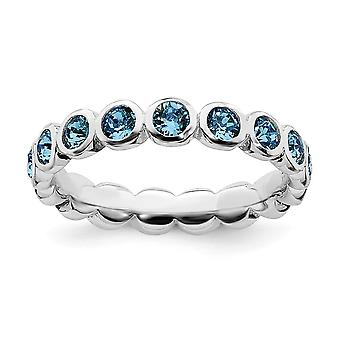 3.5mm 925 Sterling Silver Stackable Expressions December Crystal Ring Jewelry Gifts for Women - Ring Size: 5 to 10
