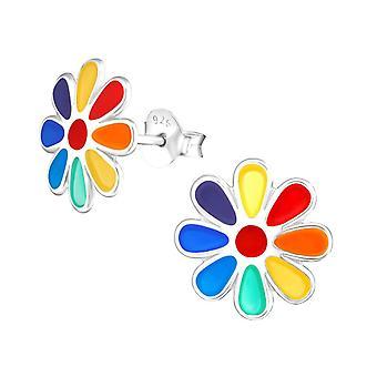 Brincos de garanhão de prata sterling de flor de arco-íris