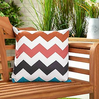 """Zigzag Multicolour Water Resistant Canvas Outdoor Scatter Garden Filled Cushion Print 18"""" (45cm)"""