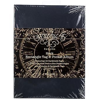 Graphique 45 Staples Tag et Album de poche 6-quot;X8-quot;X3-quot; - Black Rectangle