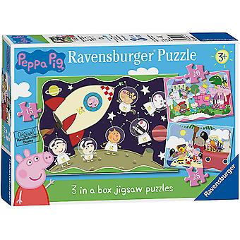 Ravensburger Peppa Pig 3 in Box (15, 20, 25pc) Jigsaw Puzzles