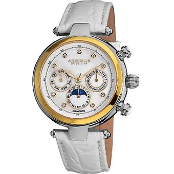 Akribos XXIV women s classic STAINLESS steel with leather strap watch, zircon