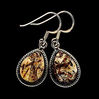 Rough Astrophyllite Earrings 1 1/2