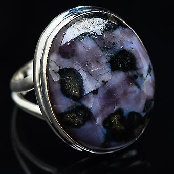 Large Gabbro Ring Size 7 (925 Sterling Silver)  - Handmade Boho Vintage Jewelry RING3881