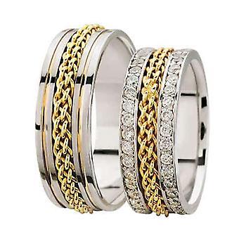 Bicolor gevlochten trouwringen met 2 rijen diamanten