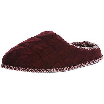 Dearfoams Women's Quilted Cable Knit Clog Slipper, Cabernet, XL Regular US