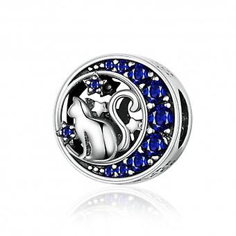 Sterling Silver Charm Kitten With Blue Moon - 6217
