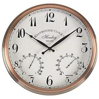 Outdoor/Indoor Garden Wall Clock Thermometer & Humidity Gauge Chrome Frame 12""