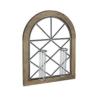 Cathedral Style Wall Flower Sconce With Dual Glass Bud Vases