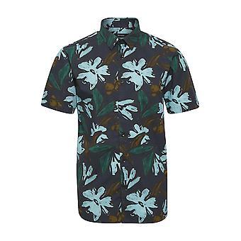 Robo Navy Icon Floral Short-Sleeved Shirt