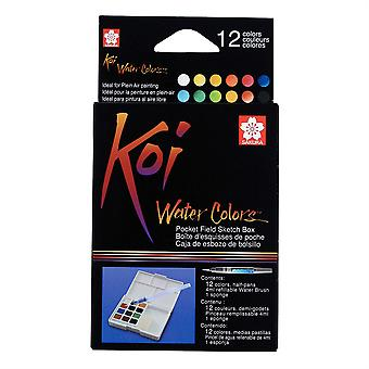 Koi Water Colors Pocket Field Sketch Box Set of 12 Colours