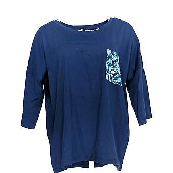 Enhver Women's Pyjamas Top Cozy Strik Print Pocket Blue A374516