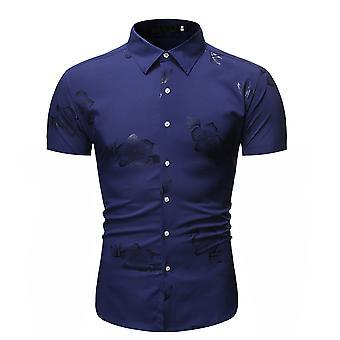 Allthemen Men's Bronzing Floral Printed Simple Fashion Short-Sleeved Shirt