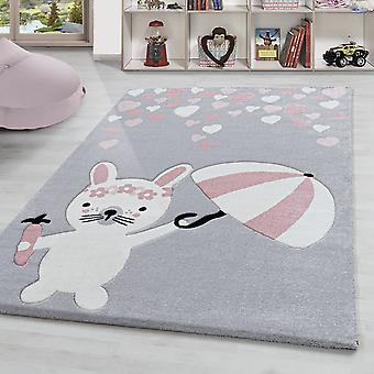 Children's Rug Bunny Heart pattern Nursery High Quality Pastel Pink Silver White