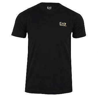 Ea7 emporio armani men's black small logo t-shirt