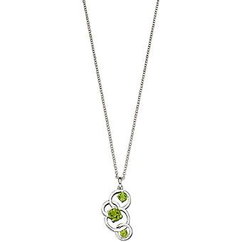 Elements Silver Round Peridot Pendant - Silver/Green