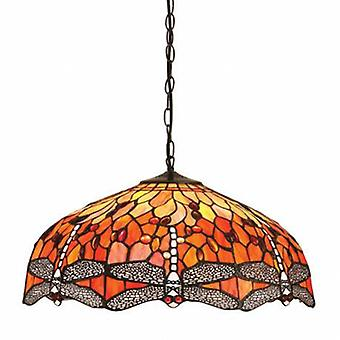 3 Light Large Ceiling Pendant Bronze, Red, Dragonfly Tiffany Glas