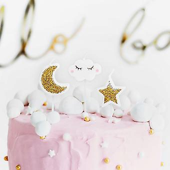 Little Star Moon Cloud Birthday Candles - Cake Decoration x 5