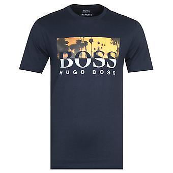 BOSS Tsummer 6 Large Logo Navy T-Shirt