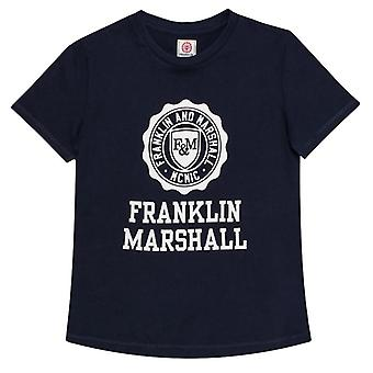 Boy's Franklin And Marshall Junior F and M Logo T-Shirt in Blue