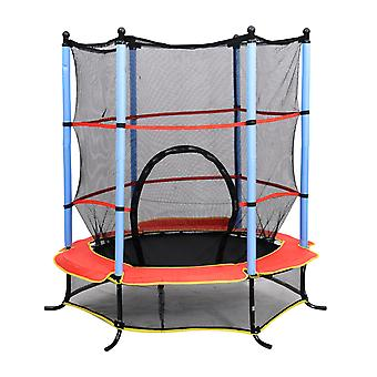 HOMCOM 55 Inch 4.5FT Junior Kids Trampoline with Safety Net Enclosure & Cover Garden Outdoors Round Bouncer Rebounder