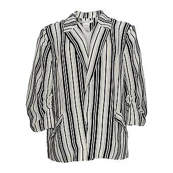K Jordan Women's Suit Jacket/Blazer Bold Stripe Blazer Preto/Branco