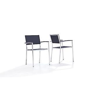 Edelstahl Stuhl Tex A, 2 Stück - schwarz