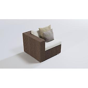 Polyrattan Cube hoekbank 90 cm - moerbruin