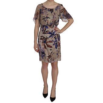 Liu Jo Multicolor Silk Mini Sheath Sheer Sleeve Dress
