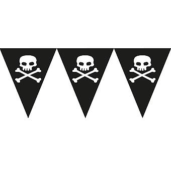 Skull & Crossbones Pirate Party Paper Flag Bunting for Kids - 3,7m