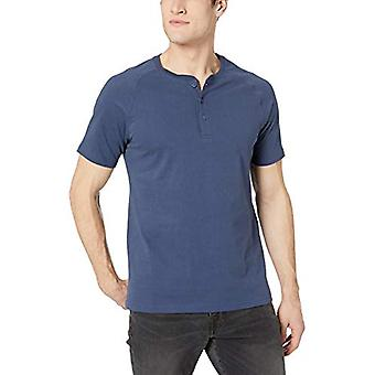 Goodthreads Men's Short-Sleeve Sueded Jersey Henley, Navy, X-Small