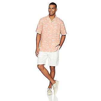 28 Palms Men-apos;s Relaxed-Fit Silk/Linen Tropical Hawaiian Shirt, Washed Pink Fi...