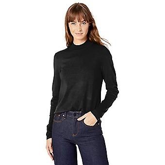 Marque - Lark & Ro Women's Warm Handed Synthetic Mock Neck Sweater, Bla...