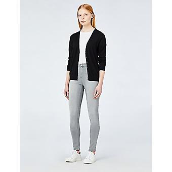 Meraki Women's Fine Merino Wool V-Neck Cardigan Sweater, (Black), EU L (US 10)