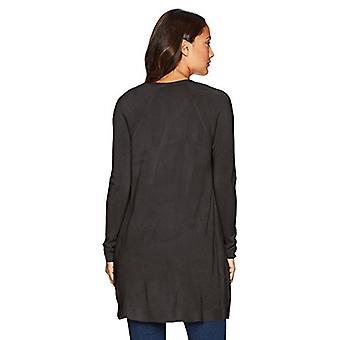 Napa Valley Women's Cashmerlon Long Sleeve Raglan Cardigan with Pockets, Blac...