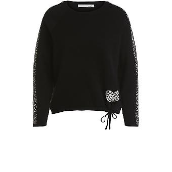Oui Black Patterned Detailed Jumper