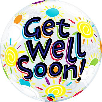QUALATEX 22IN Get Well Soon Sunny Day Bubble ballon