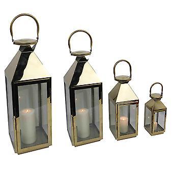 Spura Hem Dekorativ Silver Inomhus Utomhus Chrome Metal Lantern uppsättning av 4