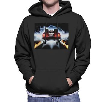 Back to the Future Delorean Taking Off For Time Travel Men's Hooded Sweatshirt