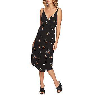 1.State | Jungle Boogie Spaghetti Strap Pattern Wrap Dress
