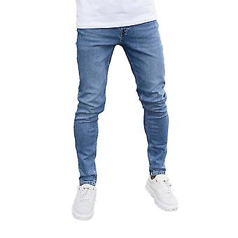 Nimes Mens Non-Ripped Skinny Jeans - Mid Blue