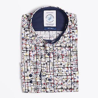 Kala nimeltä Fred - Mondrian Art Print Shirt - Valkoinen/Multi